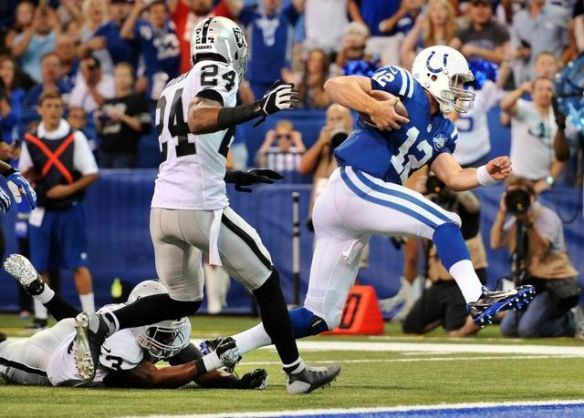 Andrew Luck was running for his life during Week 1