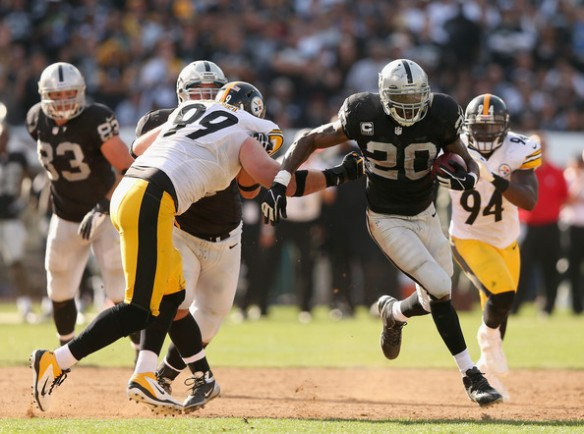 Darren McFadden found the end zone twice against the Steelers