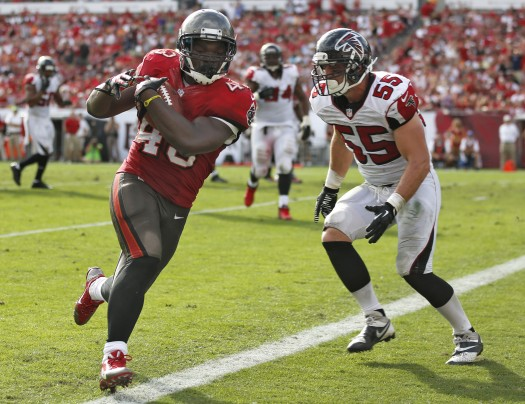 Rainey rumbled for 163 yards and scored 3 touchdowns against the Falcons